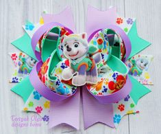 Paw Patrol Hair Bow Everest Hair Bow Paw por TretyakOlgaBows