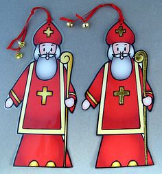 Printable St Nicholas, front and back included. Laminate it and add tiny bells to make a bookmark or ornament