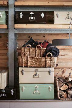 koffers, hout, groen, vintage
