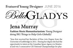 Bella GLADYS magazine interviews VEENA and discusses their ethical girlswear and efforts to positively impact girls globally. Fine Arts Degree, Bachelor Of Fine Arts, Young Designers, Positivity