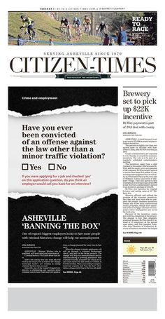 """Asheville 'Banning the Box' "" Asheville Citizen-Times A1 designed by Jeff Ruble. (01.05.16) #newsdesign"