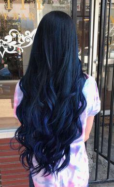 Hair color tendance haircolor 60 Ideas - Hairstyles For All Dark Blue Hair, Brown Ombre Hair, Long Black Hair, Ombre Hair Color, Cool Hair Color, Hair Colors, Blue Black Hair Color, Two Color Hair, Midnight Blue Hair