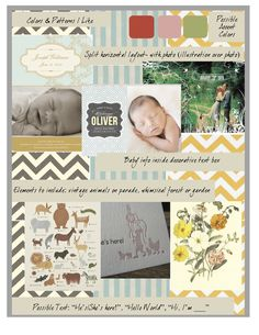 baby announcement idea board - vintage animals on parade in a whimsical garden :) Now to create it!