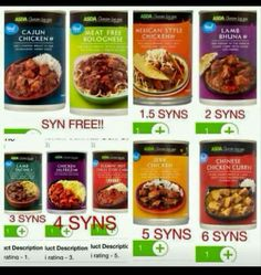 Asda tinned curry and spicy cajun Asda Slimming World, Slimming World Shopping List, Slimming World Syns List, Slimming World Syn Values, Slimming World Treats, Slimming World Dinners, Slimming World Recipes Syn Free, Shopping Lists, Slimmimg World