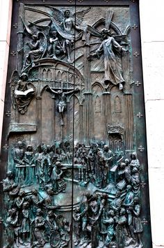 Main Door of the Almudena Cathedral Madrid Spain