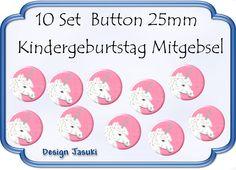 10 Set Button Einhorn,Kindergeburtstag Mitgebsel von Jasuki auf DaWanda.com