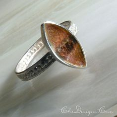 Handmade Marquis Sgraffito Enamel Sterling Silver Ring by Che4uDesigns, $44.00