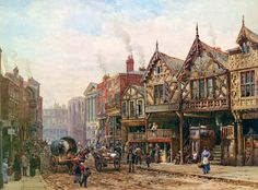 "Louise Ingram Rayner (1832 – 1924) was a Victorian British watercolor artist. "" Lower Bridge Street, Chester"""
