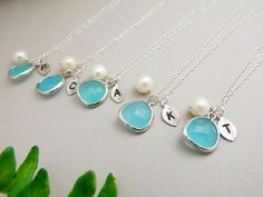 Bridesmaid Gifts, Gift Set 5, Monogram Necklace,... — Weddings