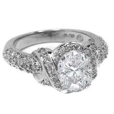 Engagement Ring - Oval Diamond Engagement Ring with Three row Pave Round Diamonds 0.60 tcw. In 14K White Gold - ES104