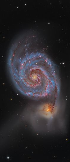 M51 ~ Follow the handle of the Big Dipper away from the dipper's bowl until you get to the handle's last bright star. Then, just slide your telescope a little southwest and you might find this stunning pair of interacting galaxies. NGC 5194 spiral arms and dust lanes clearly sweep in front of its companion galaxy (below), NGC 5195. The pair are about 31 million light-yrs away and officially lie within the small constellation Canes Venatici. (NASA-APOD)