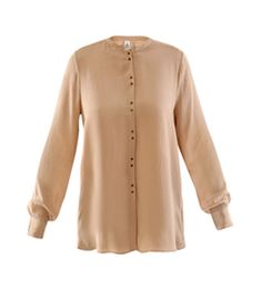 Ginger Crepe Collarless Blouse by 2Nd Day. Light camel, collarless, silk blouse with a round neck, long sleeves with buttoned cuffs and a buttoned centre front fastening. #Matchesfashion