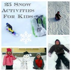 25 Fun Snow Activities to do with the Kids 25 fun snow activities for kids. Love the maple snow candy like in Little House on the Prairie. Snow Activities, Outside Activities, Fun Activities For Kids, Christmas Activities, Christmas Fun, Kids Fun, Winter Fun, Winter Snow, Winter Wonderland Party