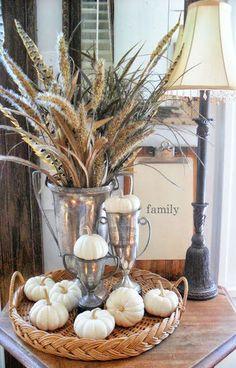 Inspiring Neutral Fall Decor // wheat, white pumpkins, and vintage silver Autumn Decorating, Decorating On A Budget, Fall Home Decor, Autumn Home, Autumn Fall, Thanksgiving Decorations, Seasonal Decor, Thanksgiving Games, White Pumpkins