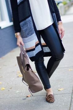 Pairing any outfit this Fall with leather leggings is a must