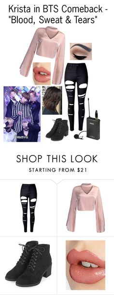 """Krista in BTS Comeback - ""Blood, Sweat & Tears"""" by cbwilliams2002 on Polyvore featuring WithChic, Topshop and Charlotte Tilbury"
