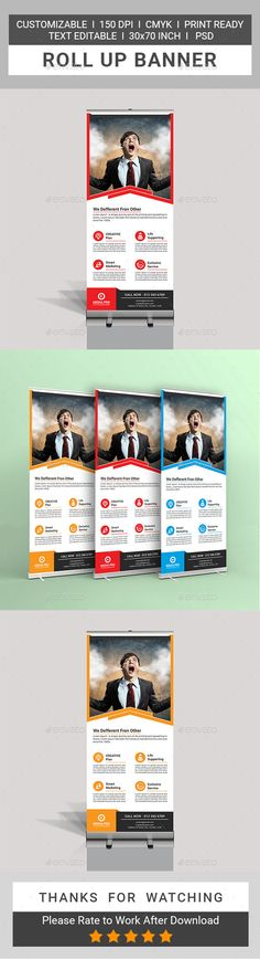 Corporate Roll Up Banner by tauhid1989 This is a Corporate Roll Up Banner Template.This template download contains 150 DPI, Print-Ready, CMYK, Layerd PSD files. All main