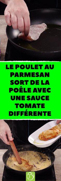 Le poulet au parmesan sort de la poêle avec une sauce tomate différente. Vous n'avez jamais goûté une sauce aux champignons aussi bonne ! #escalope #poulet #recette #cuisine #facile ##sauce #champignons