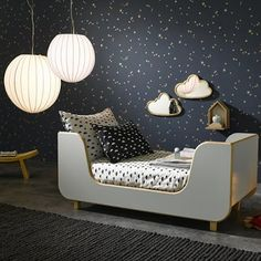Kids Bedroom Wallpaper Ideas : Lit enfant Drakar AM. Baby Bedroom, Girls Bedroom, Bedroom Ideas, Kid Bedrooms, Bedroom Decor, Bedroom Lighting, Childs Bedroom, Boys Star Bedroom, Space Theme Bedroom