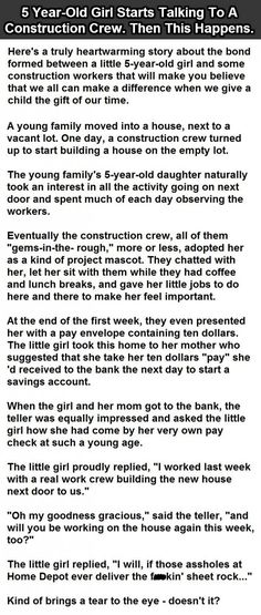 5 Year-Old Girl Starts Talking To A Construction Crew. Then This Happens.
