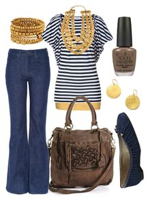 """""""nautical navy"""" by htotheb ❤ liked on Polyvore featuring Forever 21, ESPRIT, Steffen Schraut, Levi's Made & Crafted, Oscar de la Renta, French Sole FS/NY, OPI, gold, navy and brown"""