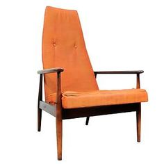 Vtg Mid Century Danish Modern Tall Sculptural Lounge Chair Kagan Pearsall Era | eBay $695, and while I'm not crazy abut the orange, this has potential.
