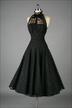 Vintage 1950's Paul Sachs Black Tuxedo Lace Cocktail Dress