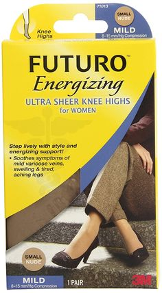 40f413a585 Amazon.com: Futuro Ultra Sheer Knee Highs for Women, Nude, Mild, Small,  (Pack of 2): Health & Personal Care
