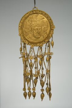 Gold Temple Pendant with Athena, Bosporan Kingdom, C. 400-350 BCOne of a pair of pendants found in the Kul Oba barrow in Kerch (map), Crimea.