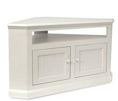$370 ON SALE Boston Interiors: Coastal Corner TV Stand - Soft White