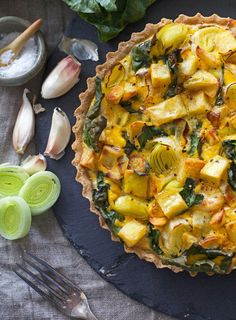 Creamy Leek, Potato and Silverbeet Tart with a Buckwheat Crust This rustic-looking gluten-free tart is overstuffed with a delicious combination of crispy roast potato, garden greens and lovely leeks. It's wonderful for lunches or dinners, both hot or cold.