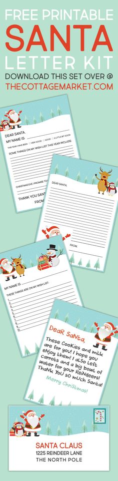 FREE Printable Santa Letter Kit - Includes different letter styles, note to Santa and envelope! Free Printable Santa Letters, Free Letters From Santa, Printable Designs, Free Printables, Noel Christmas, Christmas Ideas, Santa Claus Is Coming To Town, Free Digital Scrapbooking, Free Planner