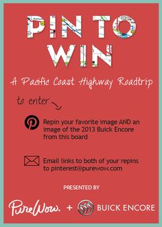 Pin to Win one of three fantastic roadtrip getaways from PureWow + @Buick! Terms & Conditions: http://www.purewow.com/roadtrip-getaway-sweepstakes