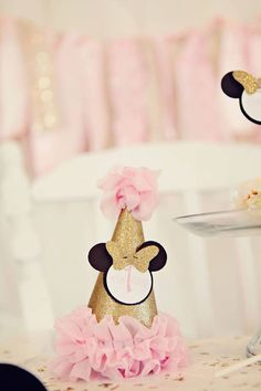 Pink and Gold Minnie Mouse Birthday Girl Party Hat, Mini Hat, Headband Hat Minnie Mouse first birthday by SweetSisterCelebrate on Etsy https://www.etsy.com/listing/239928348/pink-and-gold-minnie-mouse-birthday-girl