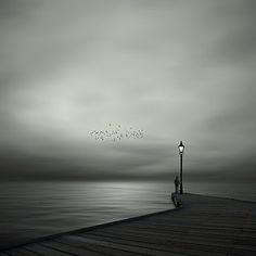 After Hours (12x12 in). After Hours by Philip McKay is a beautiful piece of surrealist art depicting a quiet scene on the docks, with scattered birds and ghostly water. Capturing the perfect balance between photography and digital artistry, this black and white work of photography stirs deep emotions left unsettled.