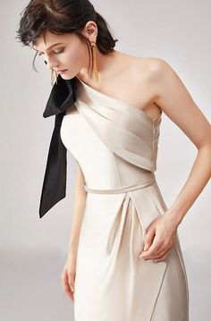 White dress and a black bow Night Gown Dress, Evening Dresses, Party Dress, Dress Up, Satin Dresses, Elegant Dresses, Classy Outfits, Trendy Outfits, Formal Gowns