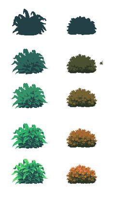 François Barbary on, Digital Art Tutorial, Digital Painting Tutorials, Art Tutorials, Concept Art Tutorial, Digital Paintings, Bush Drawing, How To Pixel Art, Arte 8 Bits, 8bit Art