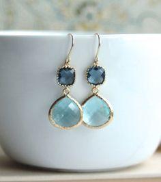Aquamarine Blue Glass Framed Drop, Sapphire Dark Blue French Hook Earrings. Modern Earrings. Aqua Blue Wedding. Bridesmaids Gift Earrings