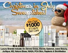 Christmas In July Sweepstakes : Win Over $1,000 in Luxury Skin Care Products! Ends 7/22.
