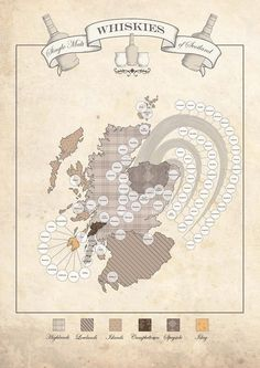 Whisky Map of Scotland by HipsterSpinster1 on Etsy