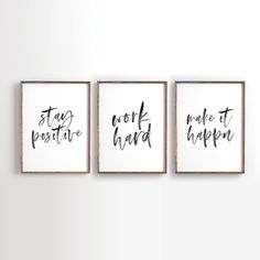 Jobs From Home Discover Stay Positive Work Hard Make it Happen Printable Art Motivational Printable Inspirational Printable Office Decor office art Set of 3 Office Wall Decor, Office Walls, Office Artwork, Office Signs, Work Cubicle Decor, Office Prints, Small Office Decor, Modern Office Decor, Work Office Decorations