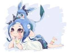 Kawaii Octoling girl with a Glaceon! Splatoon 2 Game, Splatoon Comics, Pokemon Comics, Pokemon Memes, Cute Pokemon, Lolis Neko, Squid Girl, Nintendo, Video Games Girls