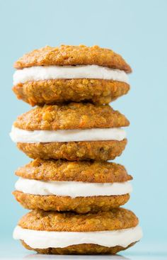 Carrot Cake Cookies 1 1/4 c. AP flour 1/2 c. quick oats 3/4 tsp baking soda 1 1/4 tsp grd. cinnamon 1/4 tsp grd. ginger 1/8 tsp grd. nutmeg 1/4 tsp salt 1/2 c. soft butter 1/2 c. gran. sugar 1/2 c. pack light-brown sugar 1 lg. egg 1 tsp vanilla 1 1/4 c. fine grated carrots 3/4 c. chop pecans Cream Cheese Frosting: 4 oz cream cheese, soft 6 Tb butter, soft pinch salt 1/2 tsp vanilla 1 c. 10X sugar Mix dough.   Drop 2 Tb. balls to bake @350 for 12-13. Cool, sandwich with cream cheese filling.