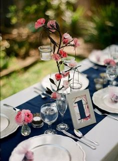spring blue pink centerpiece #pink #wedding #details