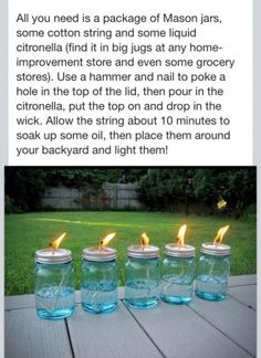 Mason jar mosquito repellent...gonna need all the ideas I can get to use mason jars after the wedding!
