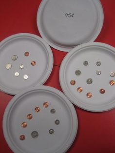 Here is an idea for a fun classroom activity that you can also leave behind at your math centers afterwards. Just get some good quality paper plates, glue some coins onto  them, and then write the total values onto the bottom of each plate. With my K4 kids, I would limit the combinations of coins.