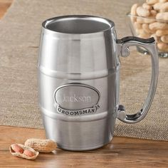 Treat the dudes of your wedding party to a well deserved cold one with a stainless steel beer tankard. Your choice of groomsman, best man, usher or groom medallion http://www.themanregistry.com/gifts/personalized-wedding-party-tankard-pewter-medallion.html