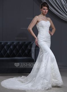Wedding Dresses - $227.99 - Trumpet/Mermaid Sweetheart Chapel Train Satin Tulle Wedding Dress With Lace Beading (002000167) http://jjshouse.com/Trumpet-Mermaid-Sweetheart-Chapel-Train-Satin-Tulle-Wedding-Dress-With-Lace-Beading-002000167-g167