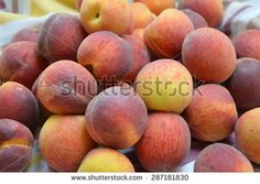 Peaches on the tablecloth  - stock photo