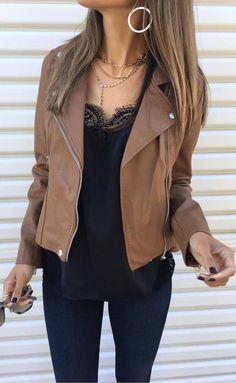 brown and black | leather jacket + top + skinnies